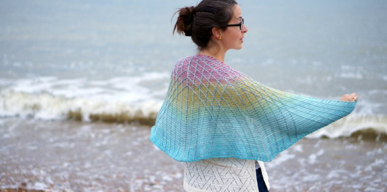 The Lambton Panes shawl by Kate Bostwick of Cowtown Knits. Yarn by Lola Johnson of Third Vault Yarns.