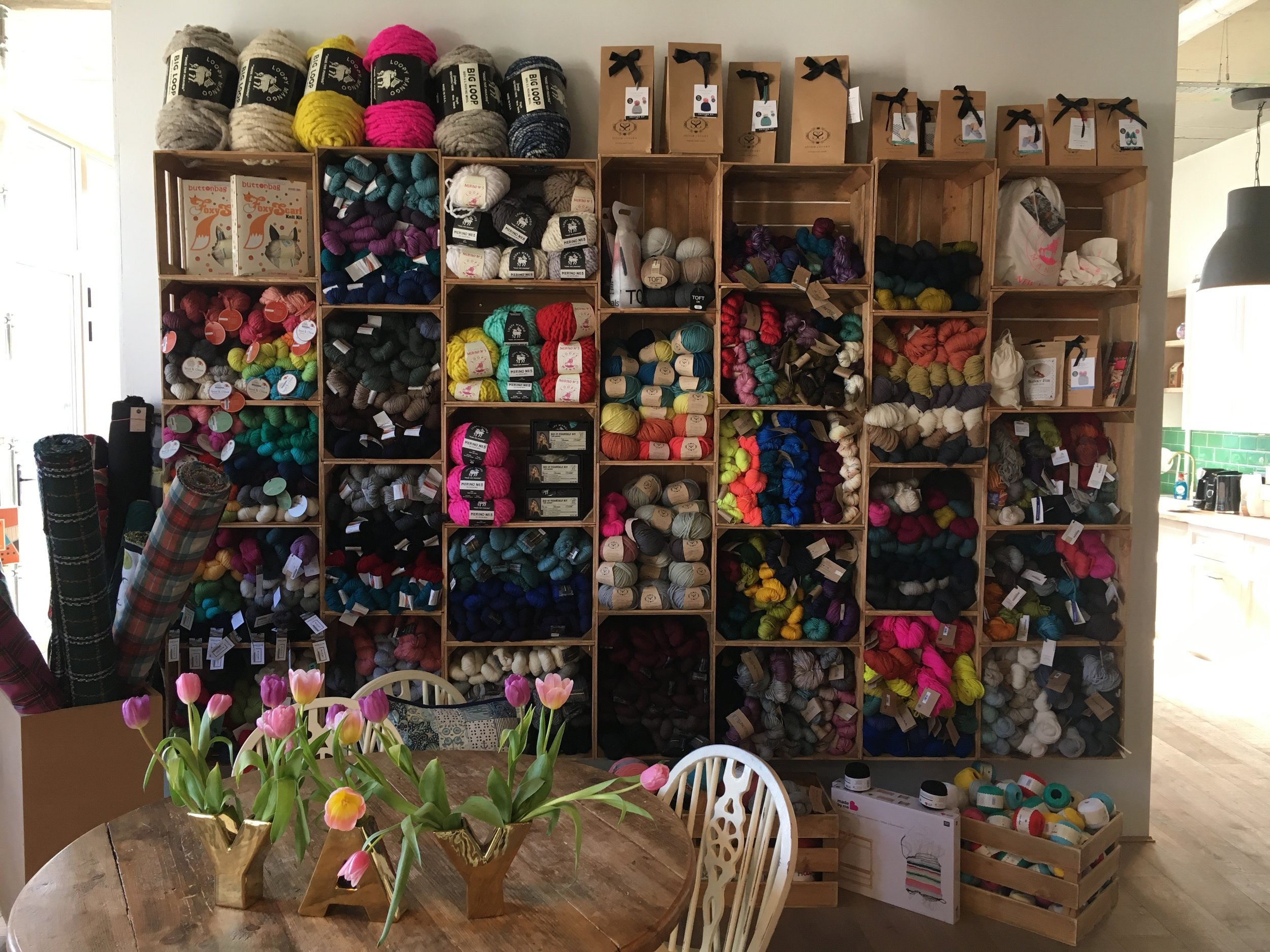 The new yarn wall at The Village Haberdashery.