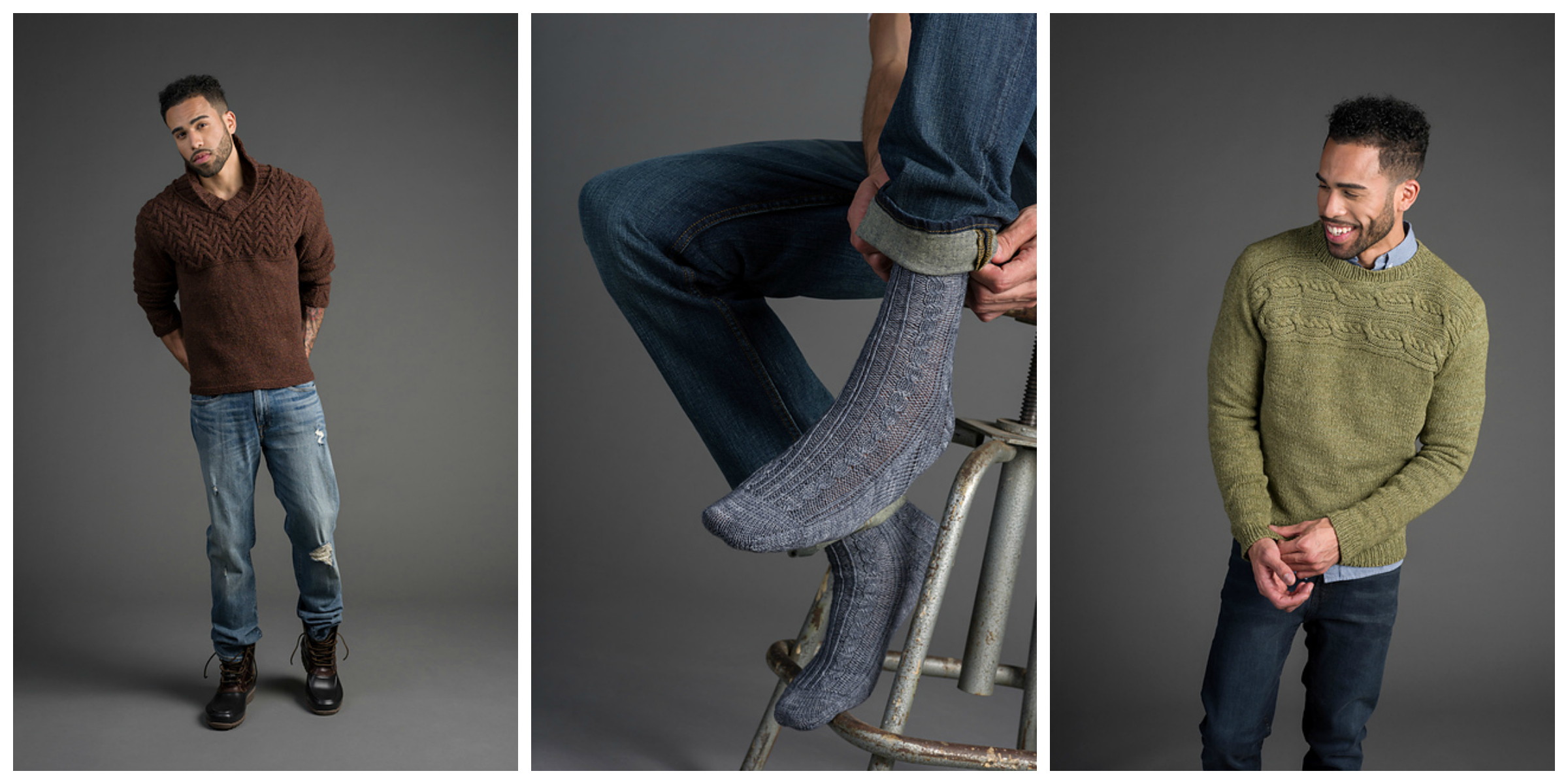 A few of our faves from the upcoming issue 2 of RIB magazine (L-R): Rigging Pullover by Fiona Ellis, Fickle Steps Socks by Louise Tilbrook, and Cayley Pullover by Irina Anikeeva.