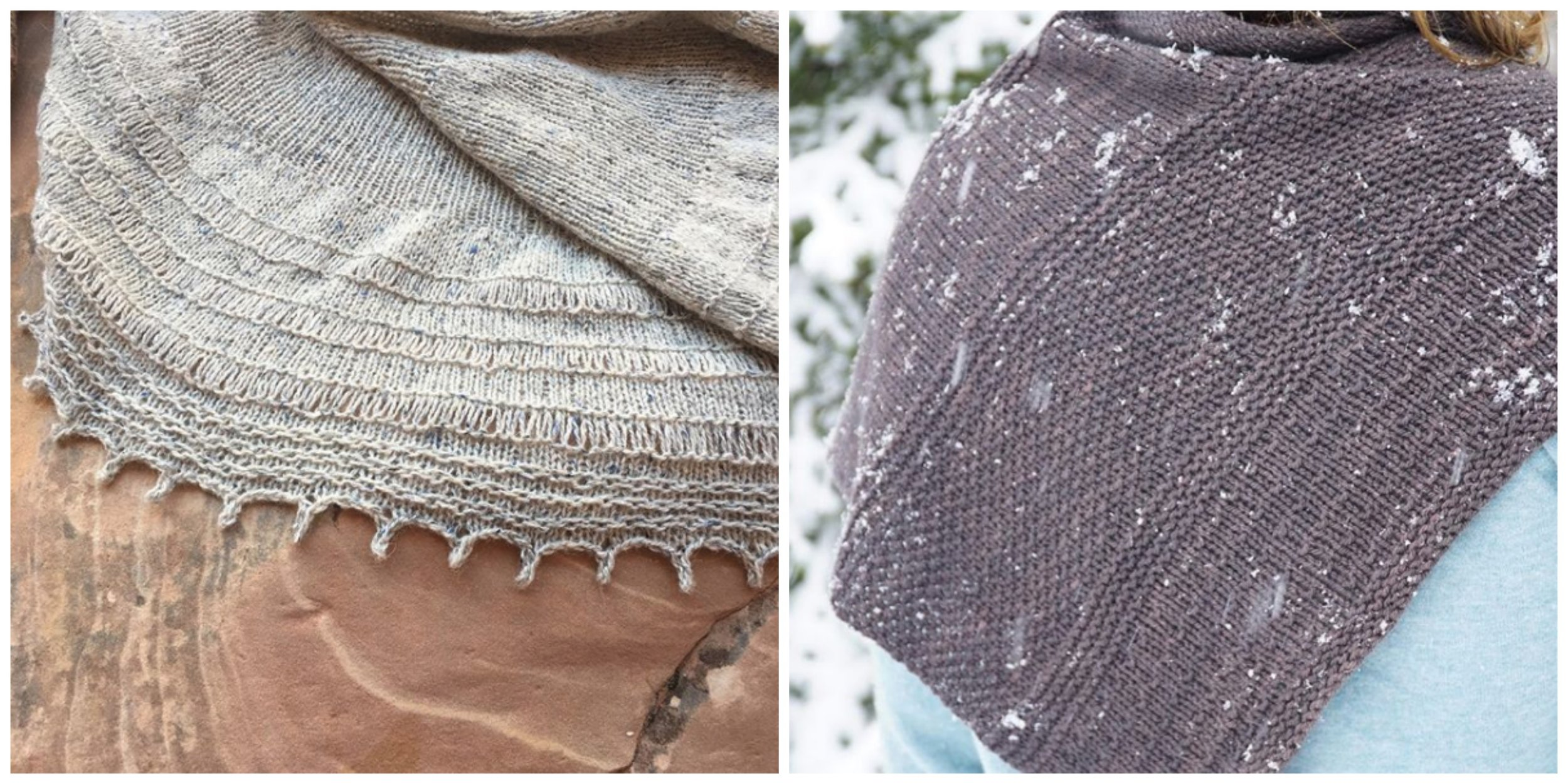Rachel has been designing up a storm: new project in the works on the left, and newly published Snow Days shawl on the right