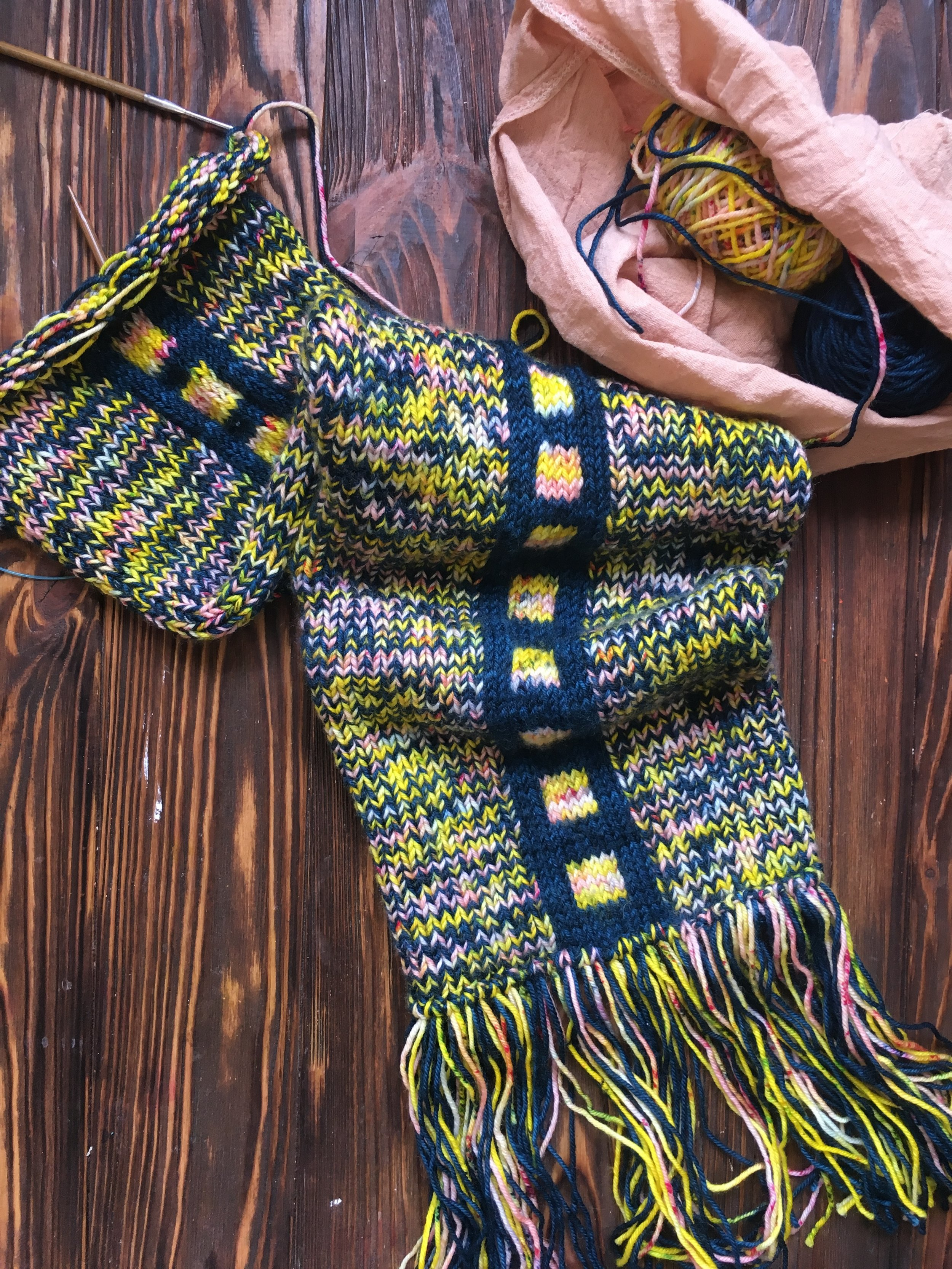 A knitting workshop with Qing Fibre on 1st September will have you trying new techniques on this special scarf project.