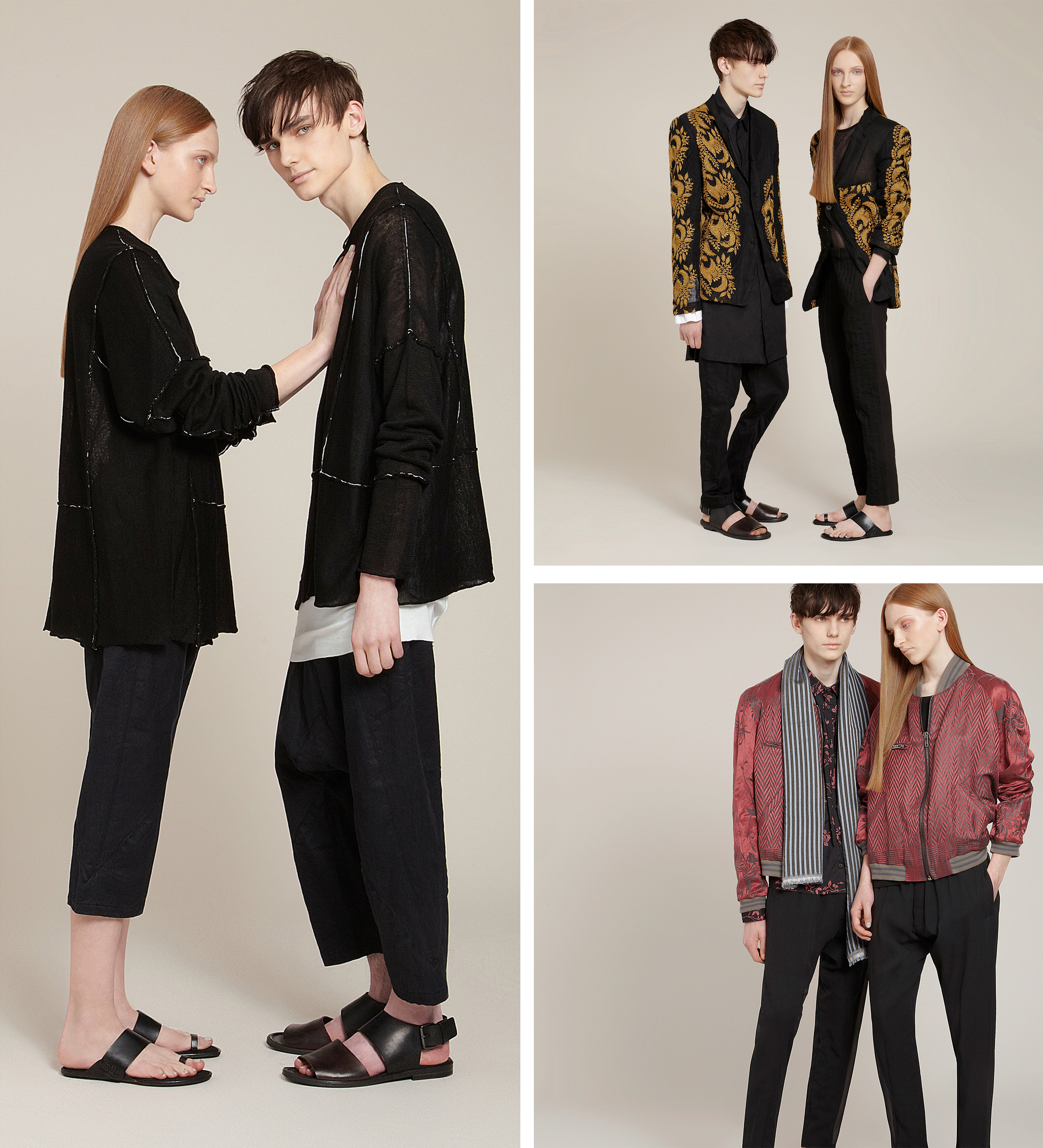 combined set of 3 fashion photographs from lookbook photography, Selfridges Agender editorial campaign from london photographer chris howlett London fashion studio
