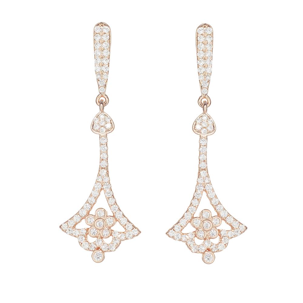 advertising packshot of a pair of rose earrings from London jewellery photographer Chris Howlett