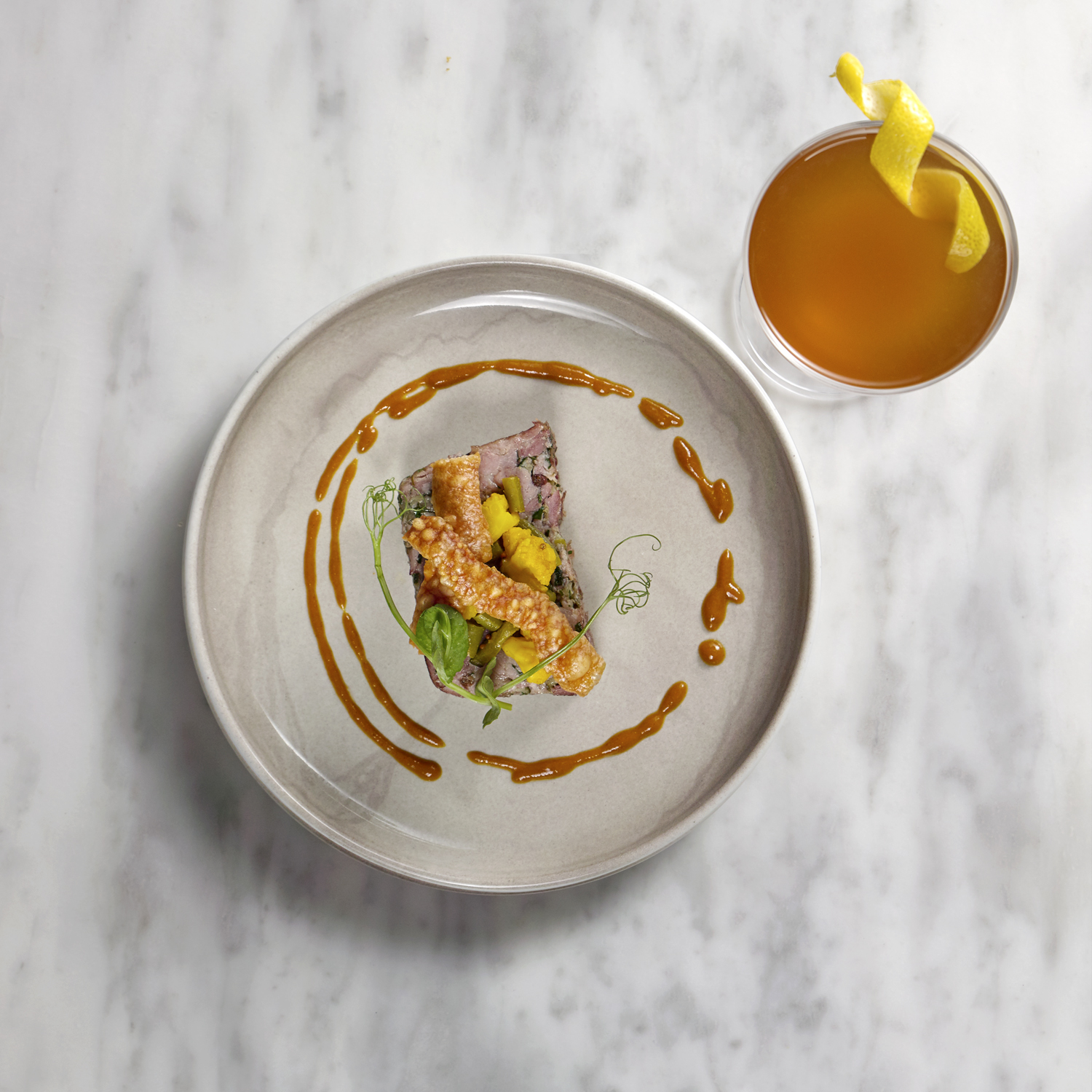 food photography, starter with cocktail drink on marble surface, luxury food photography from London