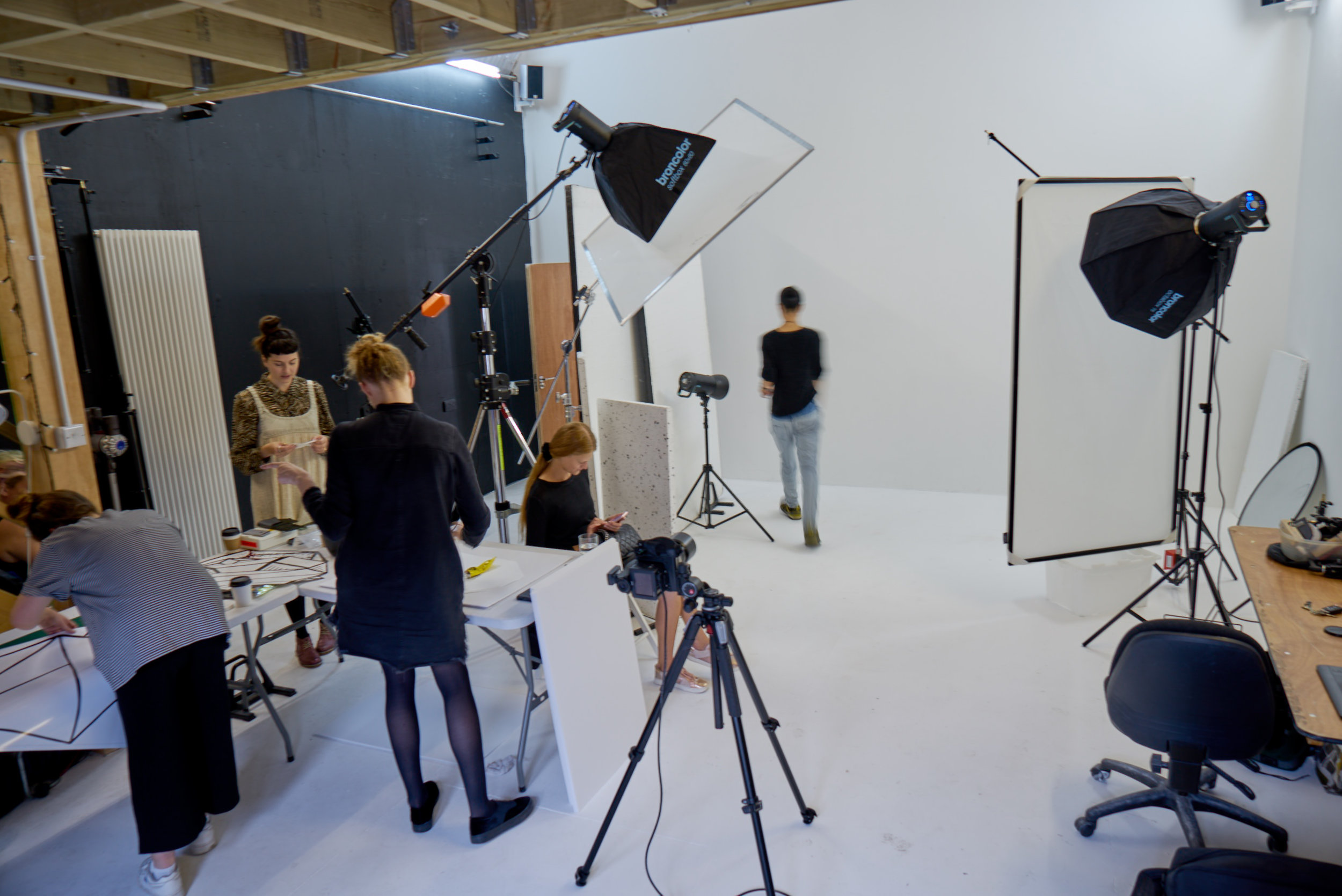 Behind the scenes shot of a London photographic studio with still life product photographer Chris Howlett