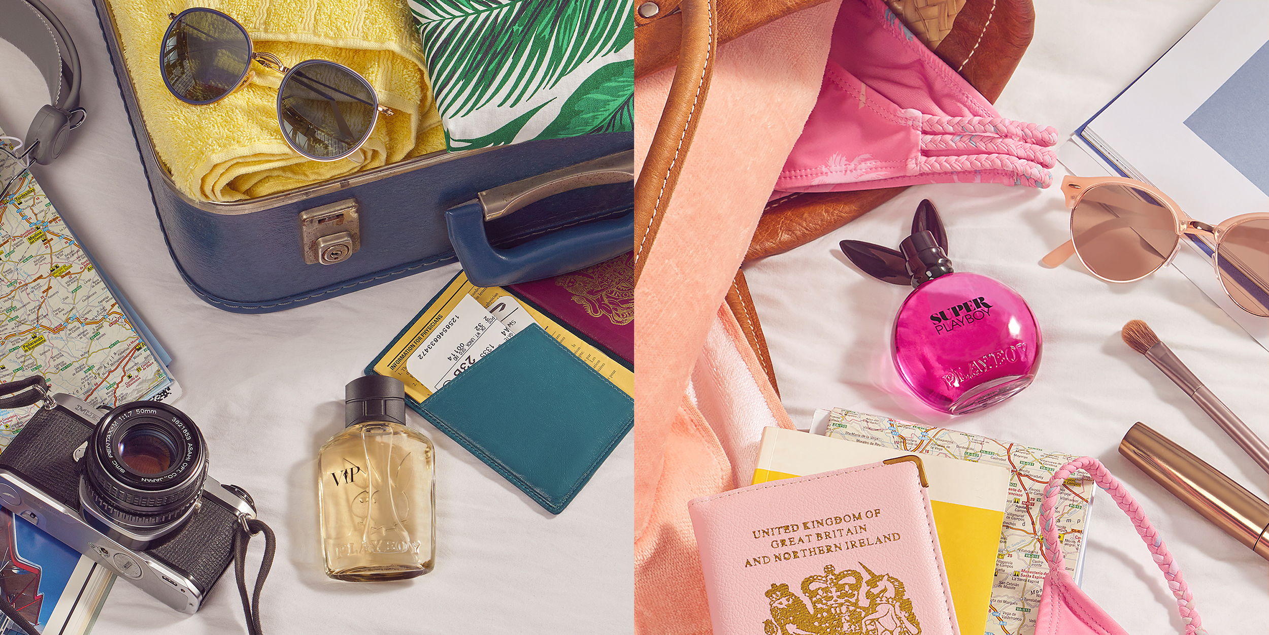 Still life  travel perfumes and cosmetics. Two creative product photography images sit next to each other. Styled with travel accessories for both him and her and shot in london location by  still life product photographer chris howlett