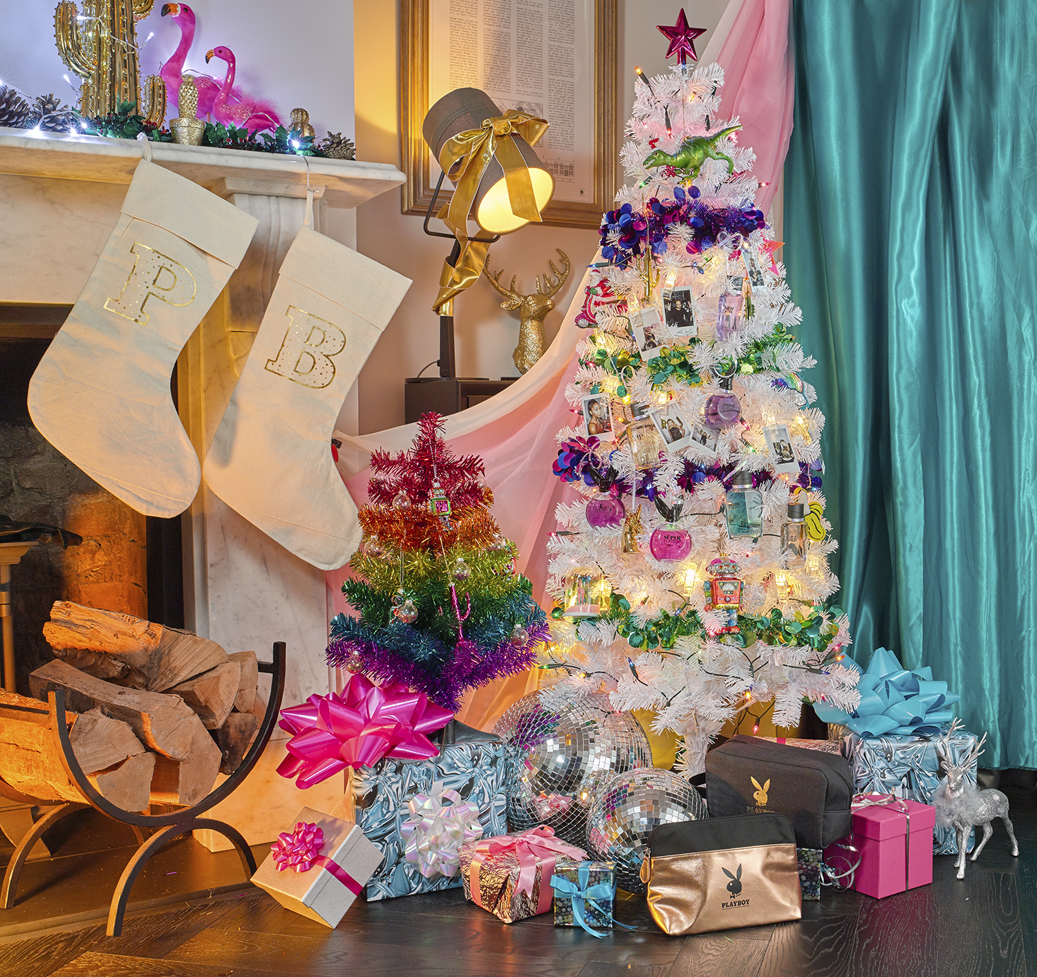 still life cosmetic photography shot on location in London, fragrances and perfume gifts around christmas tree. Product photography chris howlett