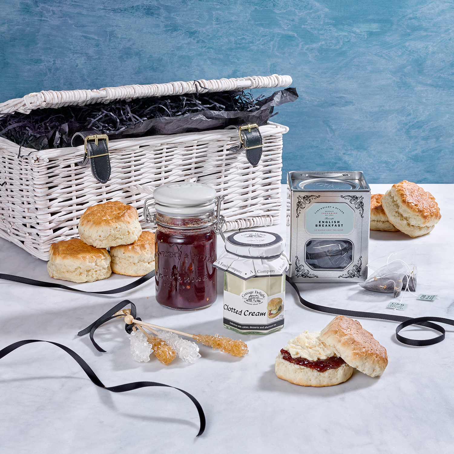 Hamper product photography food and still life photography, jam scones and cream shot in london by Howlett photography
