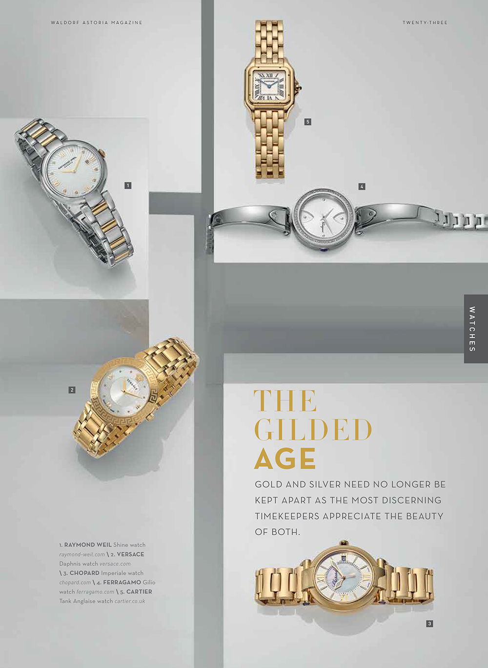 Jewellery design layout example. Gold Luxury watches make up this design layout with jewellery pieces on white gloss blocks