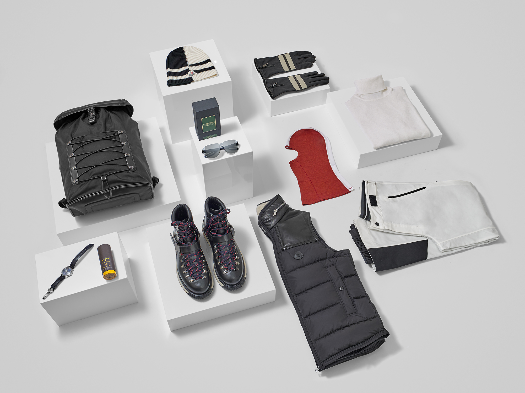 Still life mens winter clothing and accessories. Captured at South London photographic studio by product and still life photographer chris howlett.