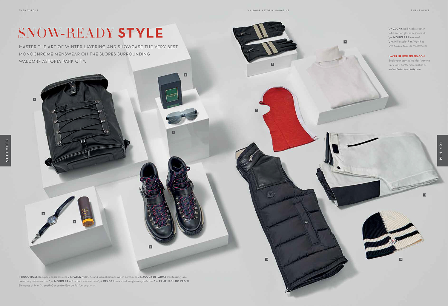 Layout for magazine publication. still life fashion products on white background with text and products