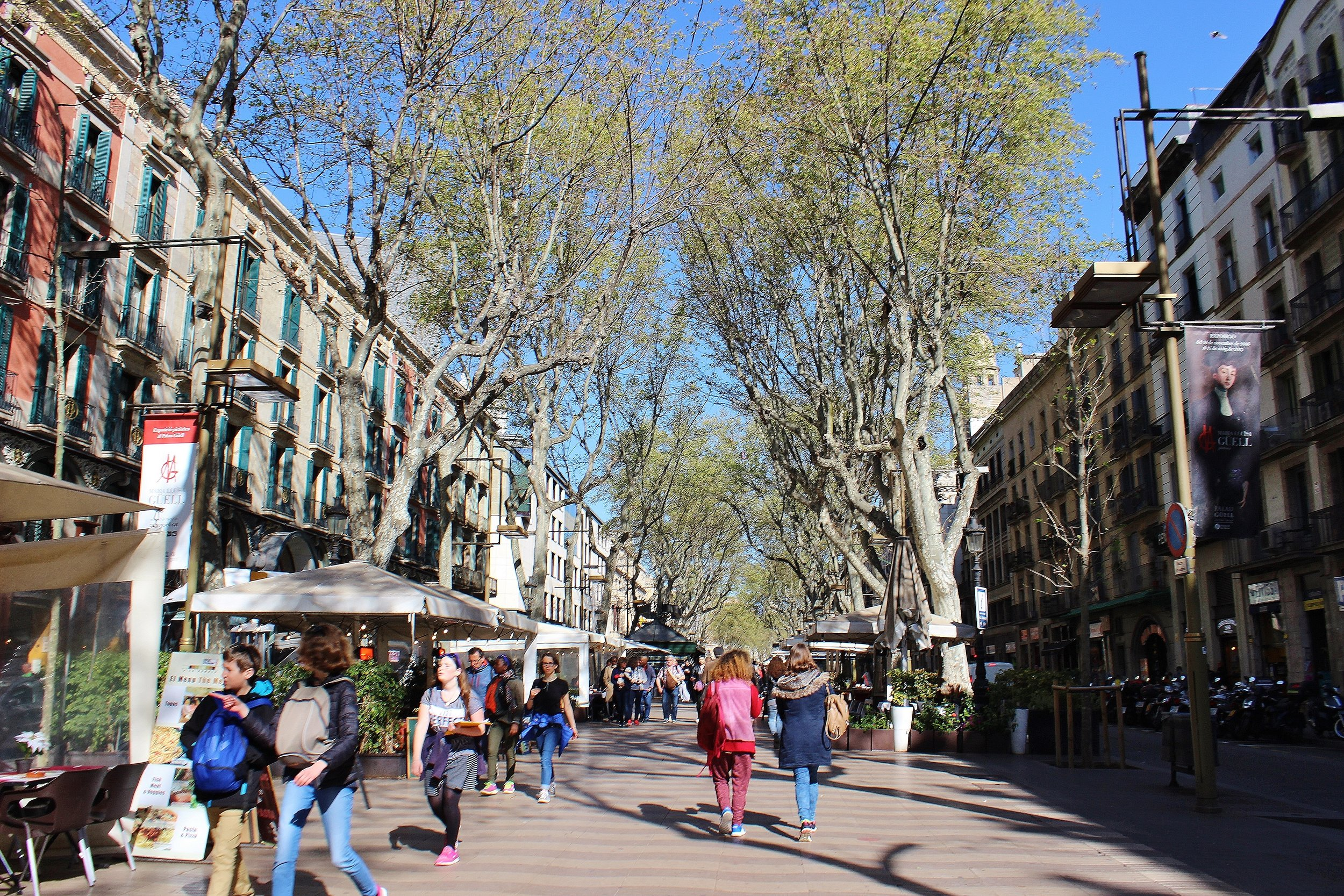 Las Ramblas. This looks unusually empty, but it's cause we tried to be early risers and Barcelonans aren't known for being morning people haha