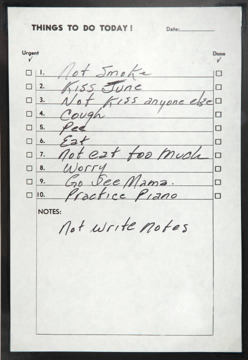 """A Johnny Cash handwritten """"To Do"""" list from the Julien's Live Auction page (www.julienslive.com)"""