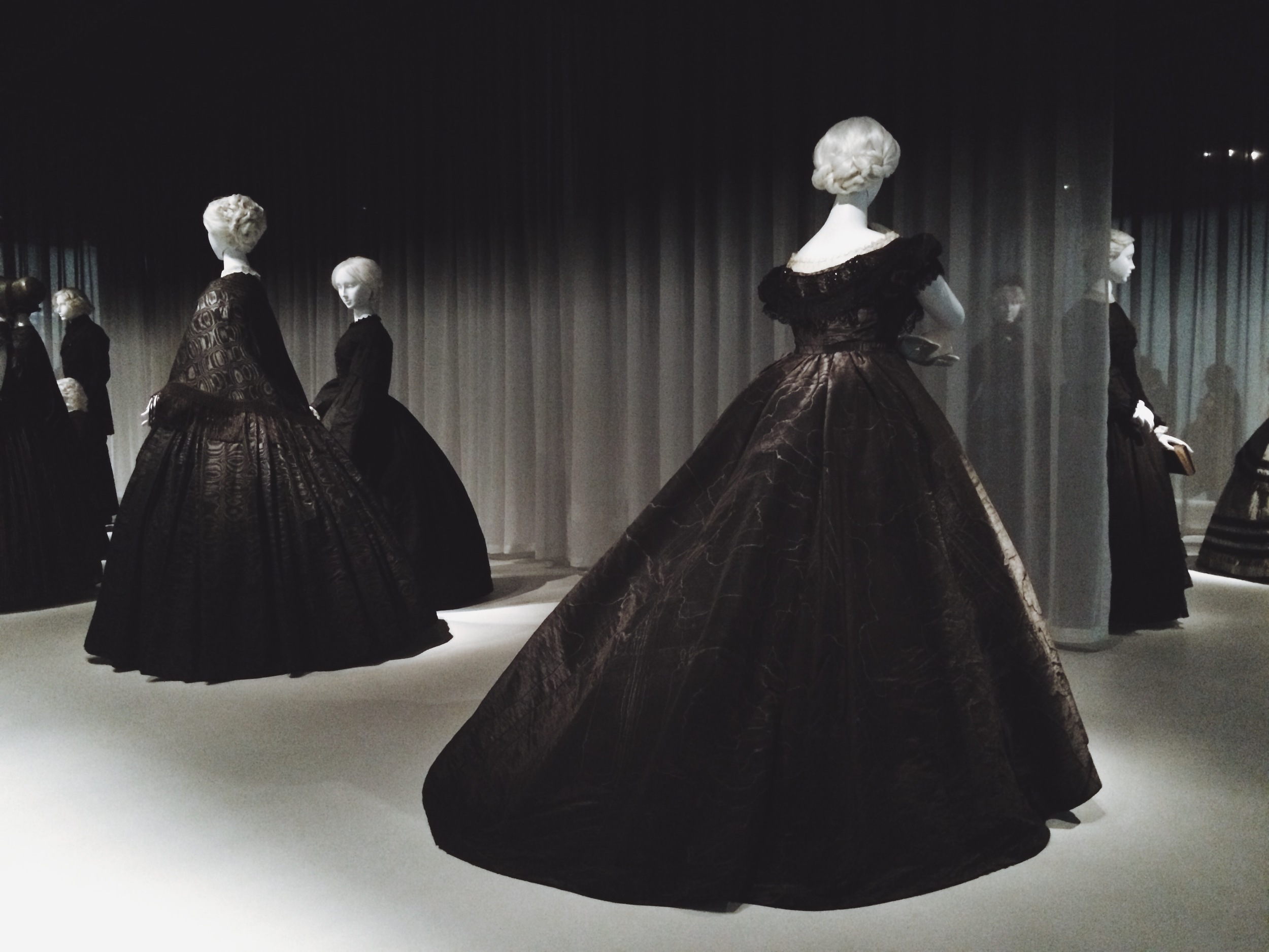 Moiré mourning gowns.