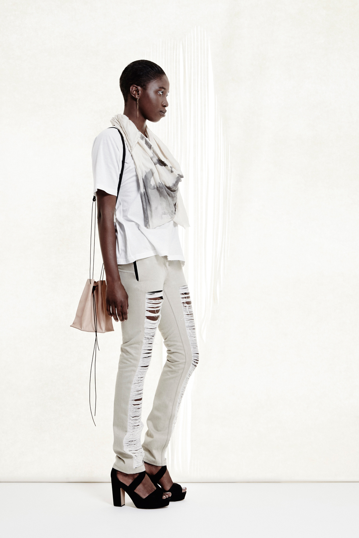 Square Tee + Zephyr Scarf + Hex Bucket Bag + Ladder Jean