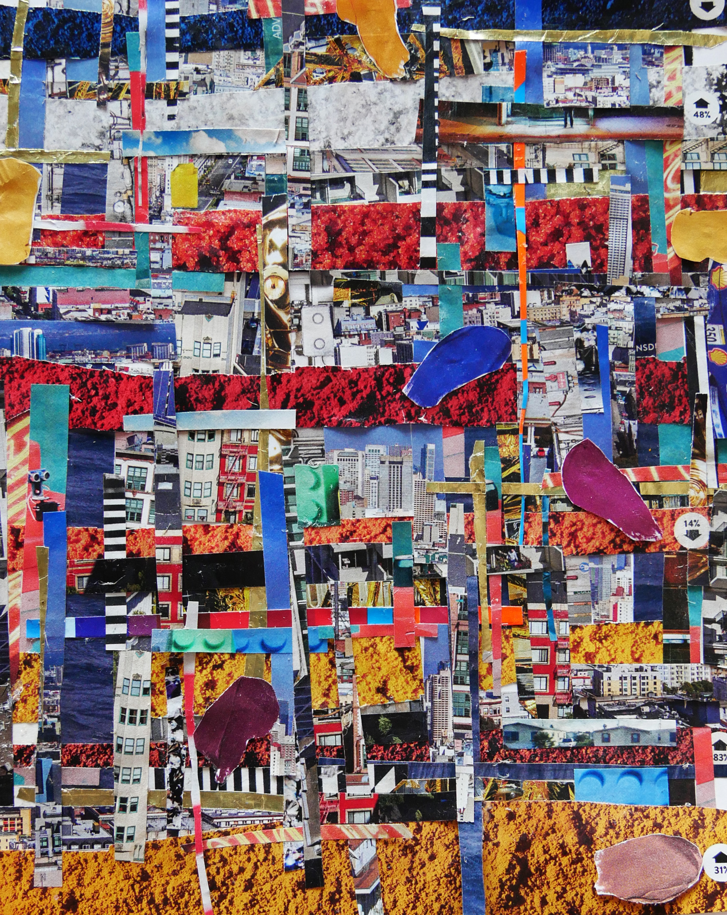"""Powder: City in Strips, 2017 / 5"""" x 7"""" collage on paper"""