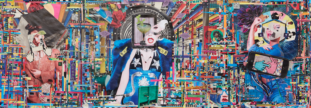 """Copy, Paste , 40""""x11"""" collage on wood"""