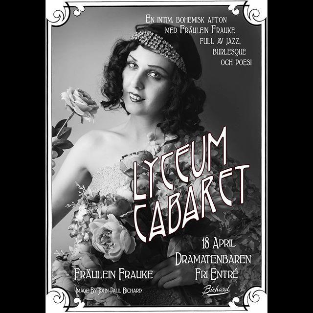 På torsdag! #lyceumcabaret av @fraulein_frauke på @dramatenbaren från 19 och framåt. Med vår dynamic duo @mannesandstrom i jazzkostym.  Foto: @johnpaulbichard