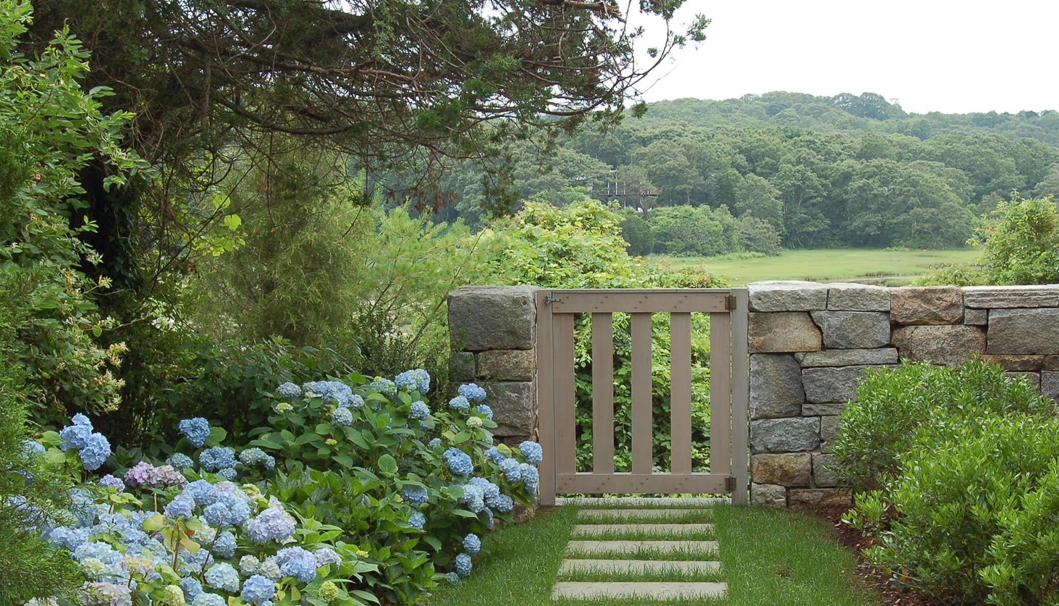 Gate and Dry Stacked Stone Wall, Cape Cod, MA