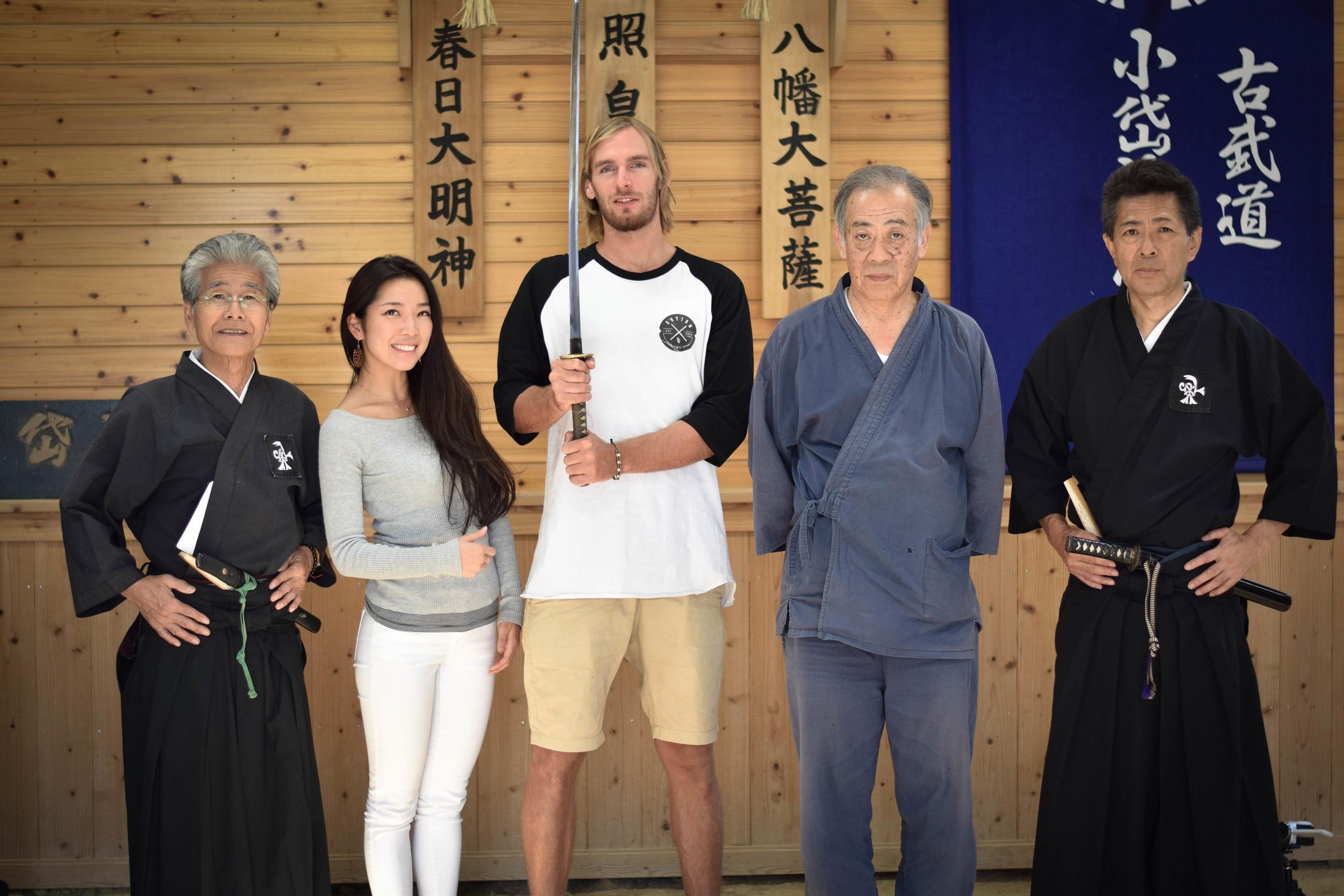 Group photo with Sensei Genrokuro Matsunaga and his disciples at his home Dojo, Genseikai dojo