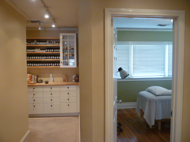 Acupuncture treatment room and herbs pharmacy