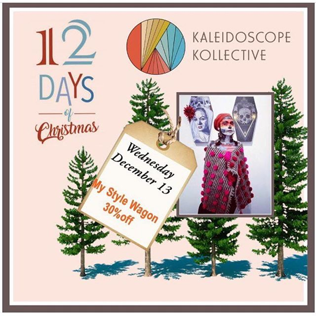 Our 12 Days of Christmas Sale starts today! Save 30% off all @my_style_wagon vintage clothing and textiles til 7pm tonight. Be sure to check our calendar and find out when your fave Kaleidoscope member has a deal you can't refuse!