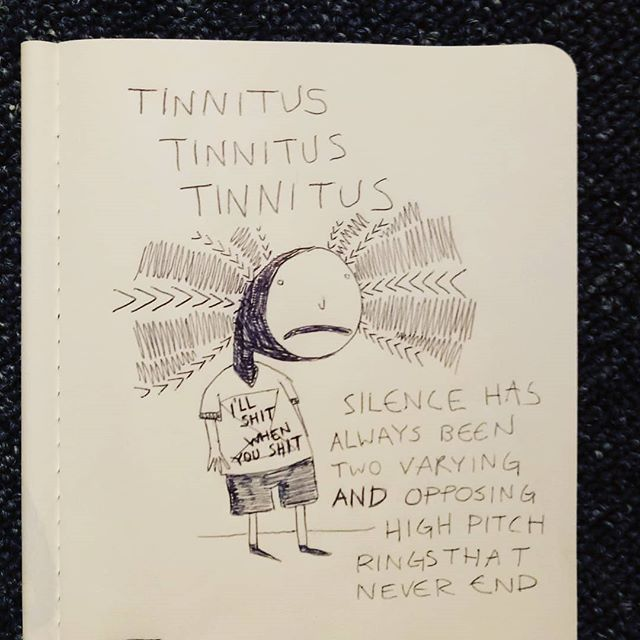 Sometimes when there's a lot of loud ambient outdoor city noise it sounds like silence. I think. Raise your hand if you have tinnitus too! FUN #inktober #tinnitus #shit