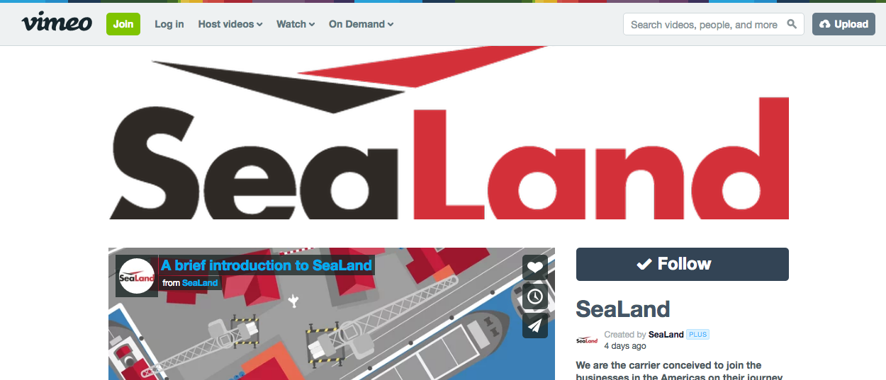 Social Video: SeaLand Vimeo channel