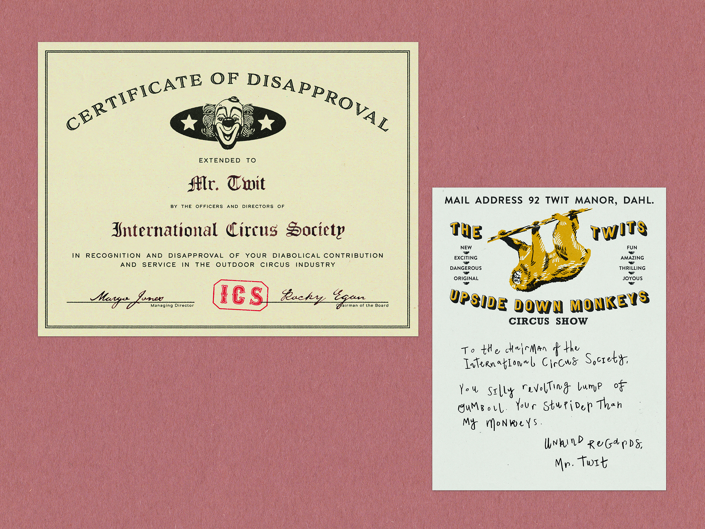 Certificate of Disapproval, Letter from Mr. Twit