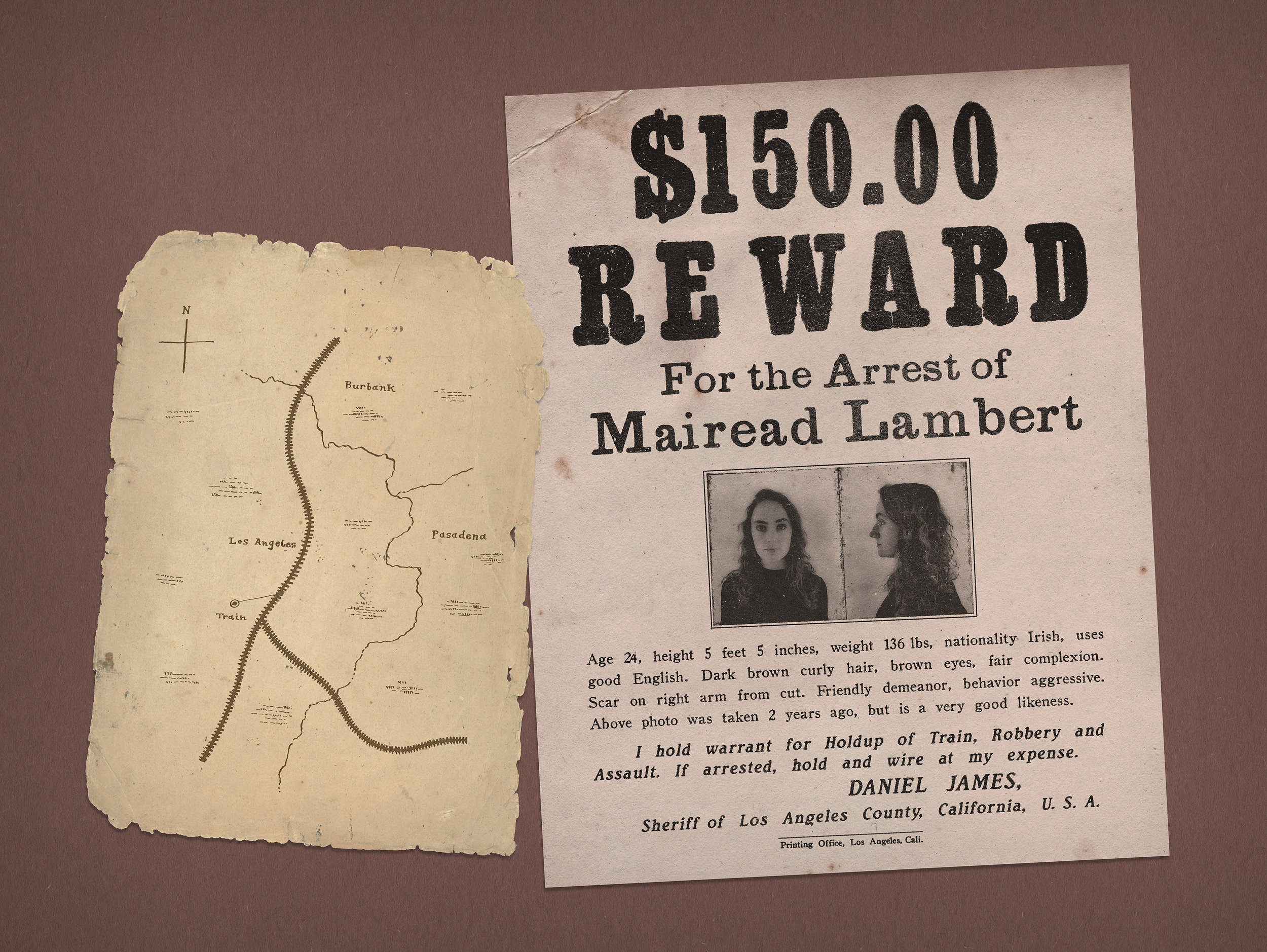 Mairead Lambert, Train Robber: Wanted Poster, Train Map