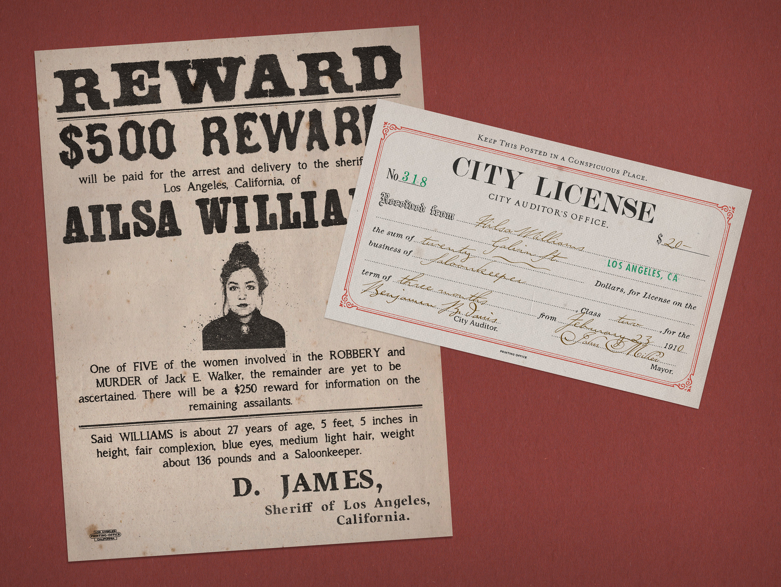 Ailsa Williams, Saloonkeeper: Wanted Poster, City License