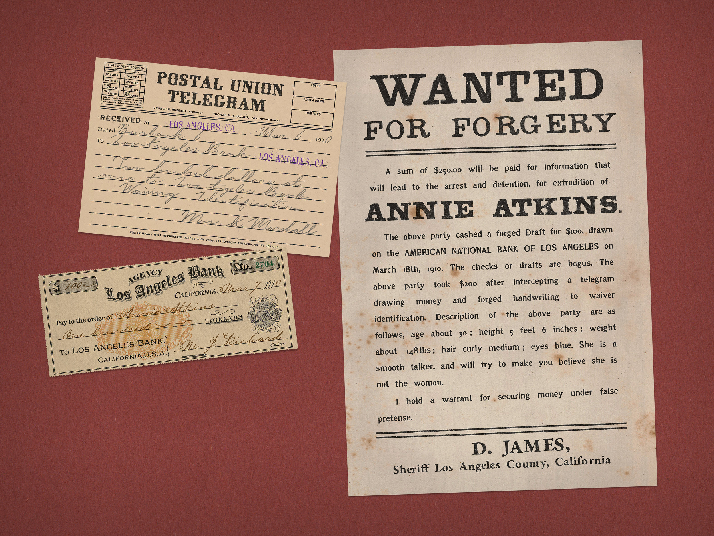 Annie Atkins, Forger: Wanted Poster, Telegram, Bank Check