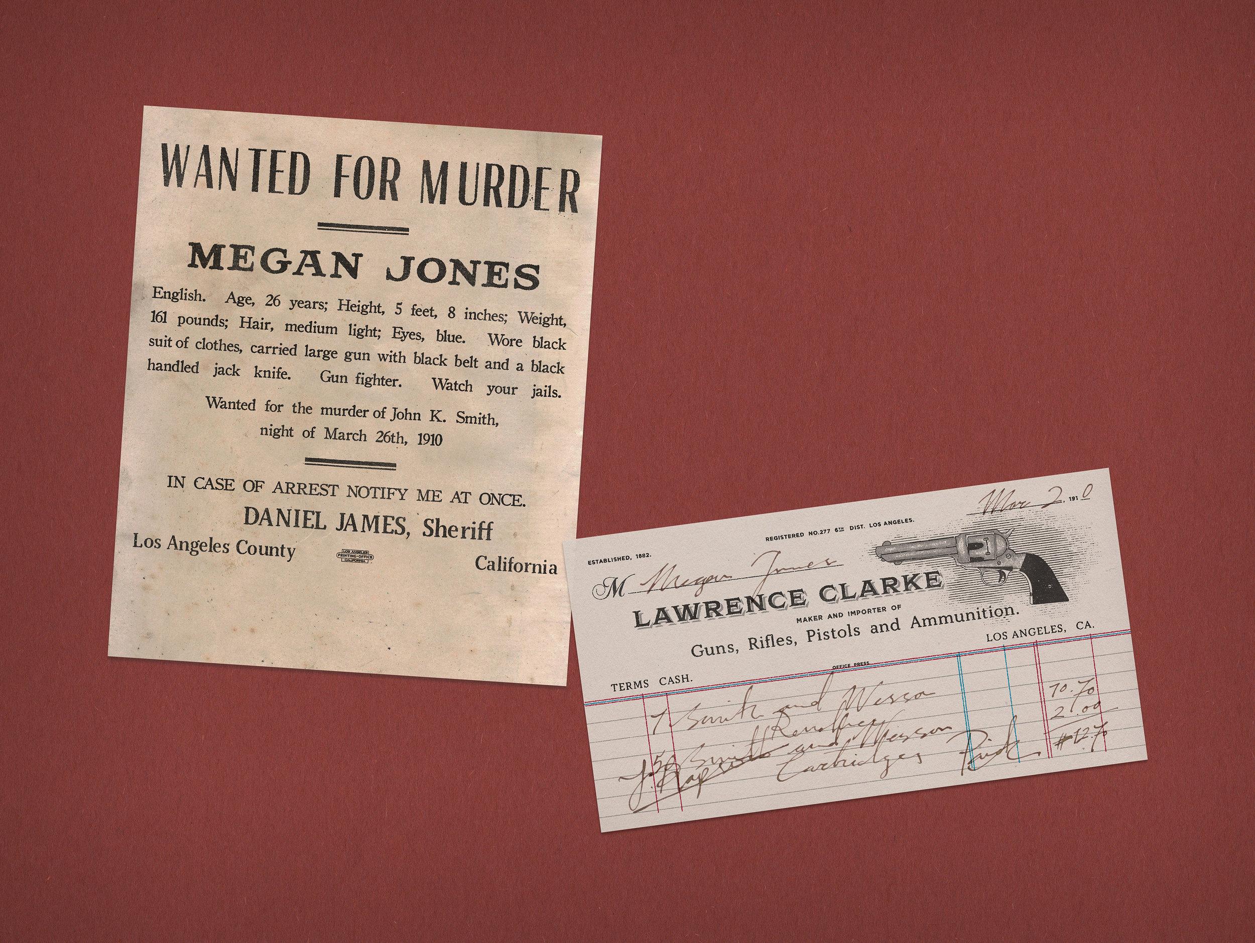 Megan Jones, Gun Fighter: Wanted Poster, Gun Invoice
