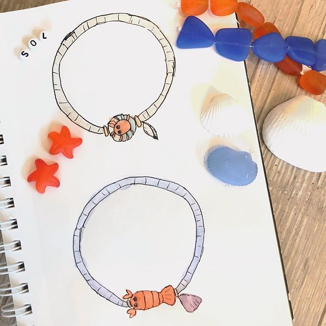 Working on some whimsical summer jewelry collection ideas. . . . #jewelry #lampwork #jewelrysketch #watercolor #dailysketch #quicksketch #drawing  #artlife  #sketch #design #designers #designer #style #illustration #drawing #jewelrydesigner #handmadejewelry #bohostyle #bohostylejewelry #beachstyle #youremylobster