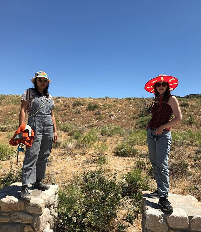 Hand painted hats by SIBIO! Find them at my on-line store crazyforaday.com ( link on my Instagram page. ) Models are the fabulous Elena Yu and the lovely Allison Brainard. Those are my bucket and saucer hats! Also at Joshua Tree Health Foods and High Desert Test Sites at the Yucca Valley swap meet. #wearableart #hammer museum #contemporarycraftmuseum #andrewedlingallery #andreazittel