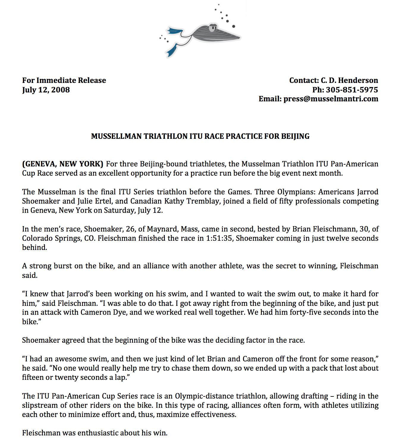 Press Release: Musselman Triathlon, 2008 [PDF]