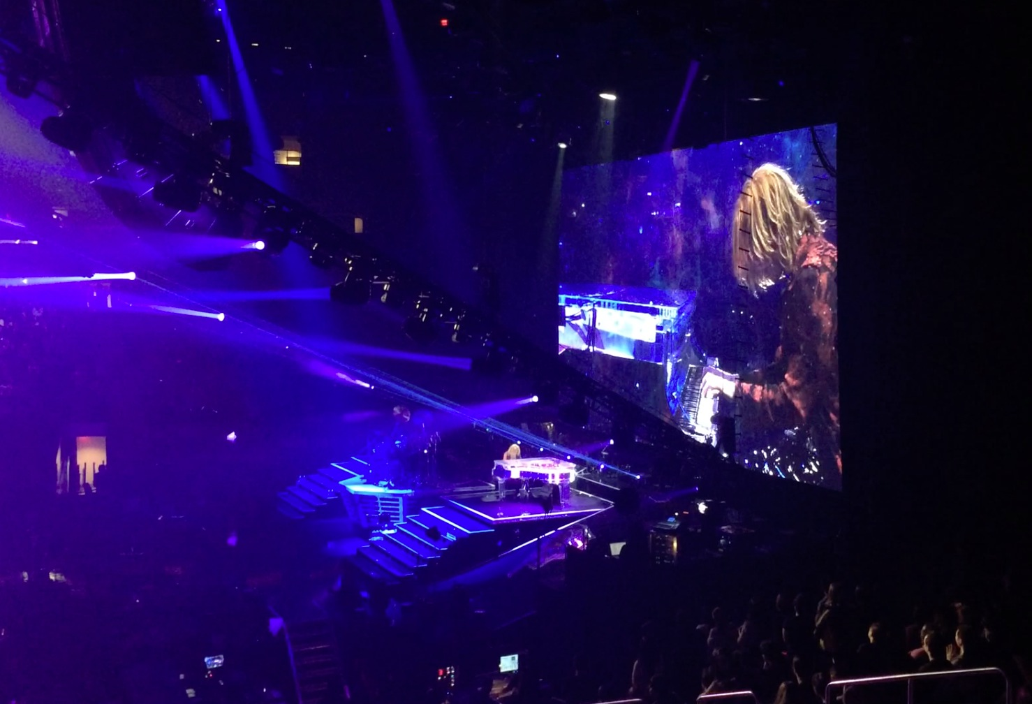 Yoshiki playing his signature custom Kawai Yoshiki transparent grand piano.  He even played the Star Spangled Banner at one point!