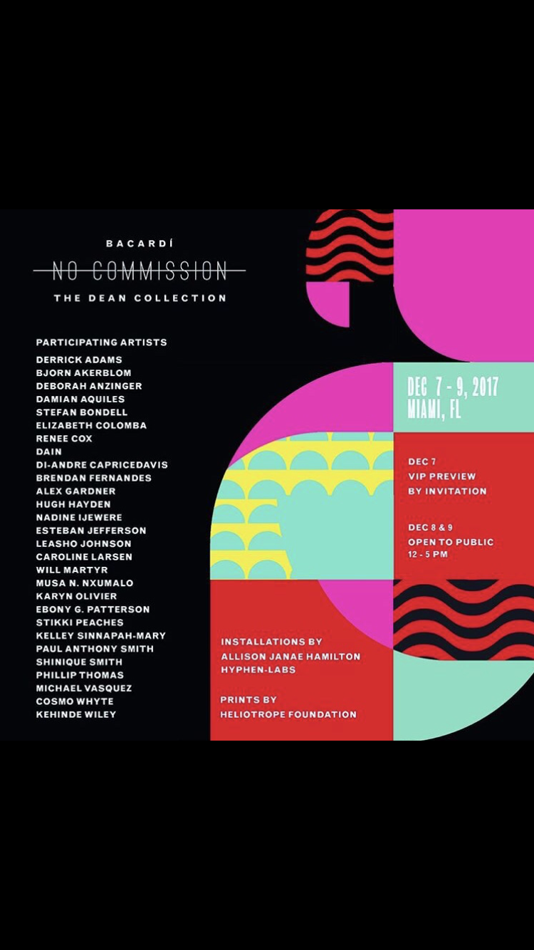 Heliotrope is proudly exhibiting at Art Basel Miami this week Dec 7-9, 2017. Swizz Beatz is at it again, bringing his No Commission art & music fair to the world stage. We will be presenting our Heliotrope Prints, including a selection of favorites and also our new Winter 2017 Suite curated by 1xRUN. Shout out to The Dean Collection and Bacardi USA for realizing this upcoming installment of No Commission, where artists receive 100% of the sale of their works. All proceeds of our print sales will raise funds to support the work of our non-profit with the community of Cormiers, Haiti. Visit  nocommisson.bacardi.com  for more info and to register! Art fair is free & open during exhibition hours; register for a chance to receive free tickets for musical performances at night.
