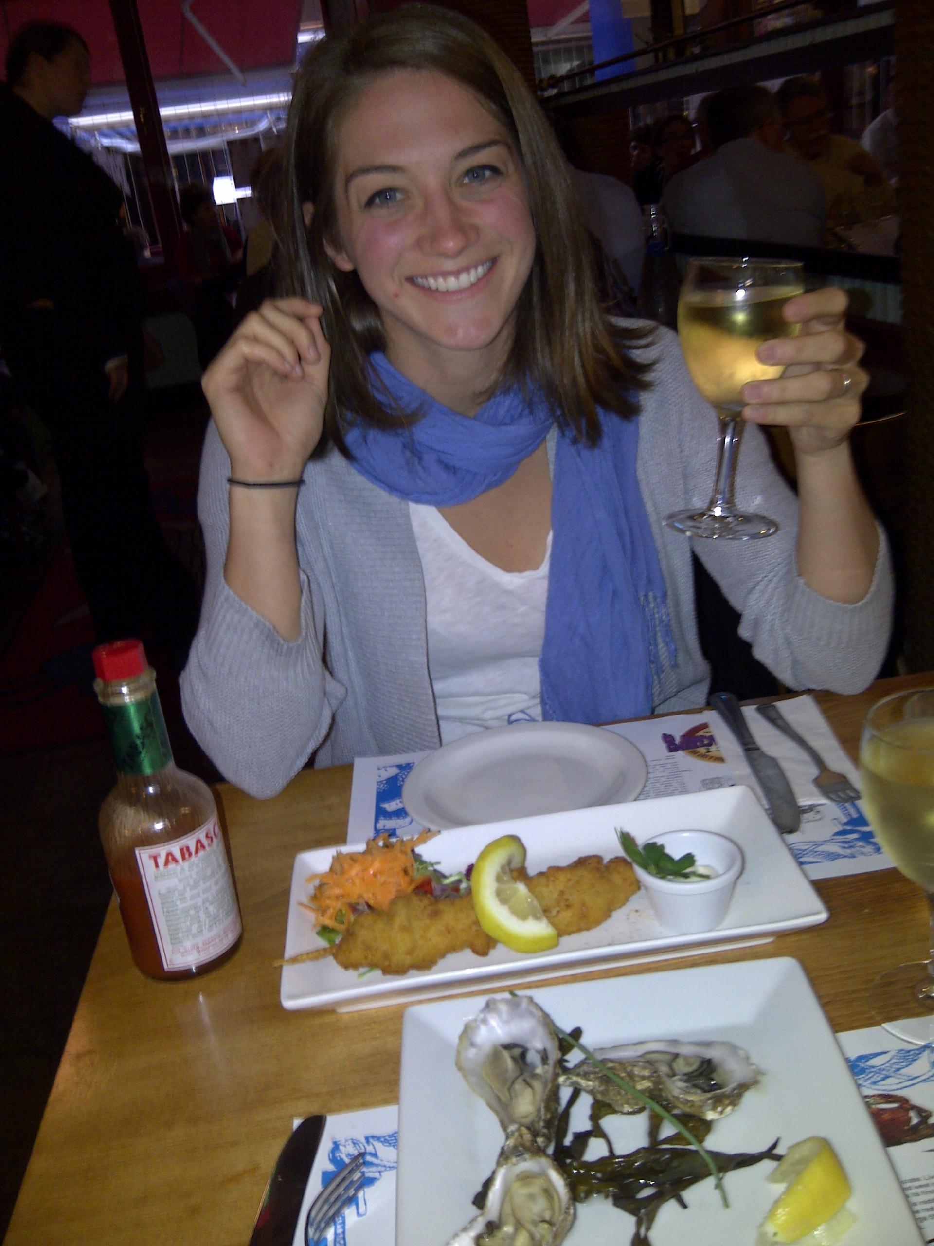 Enjoying fresh sea food at Oscar's