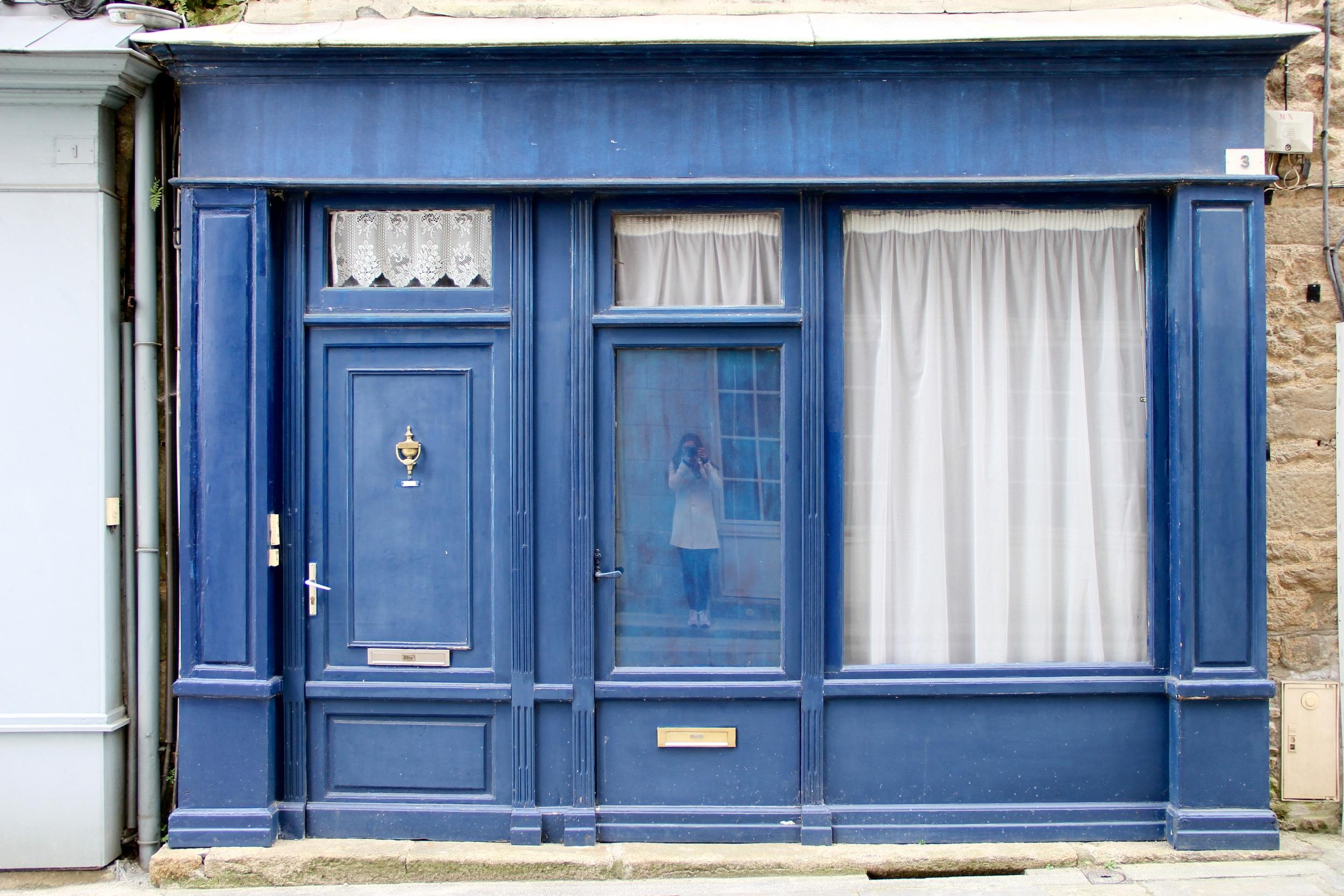 Blue facade in Dinan, France