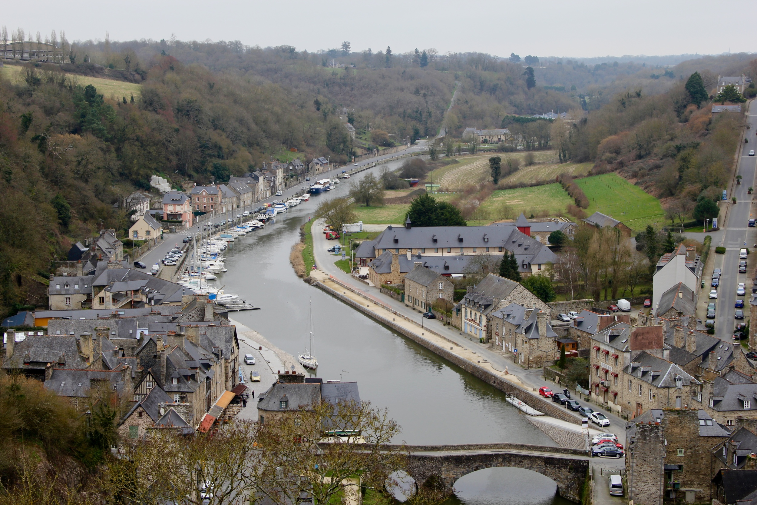 View of the River Rance from the gardens behind Dinan's basilica