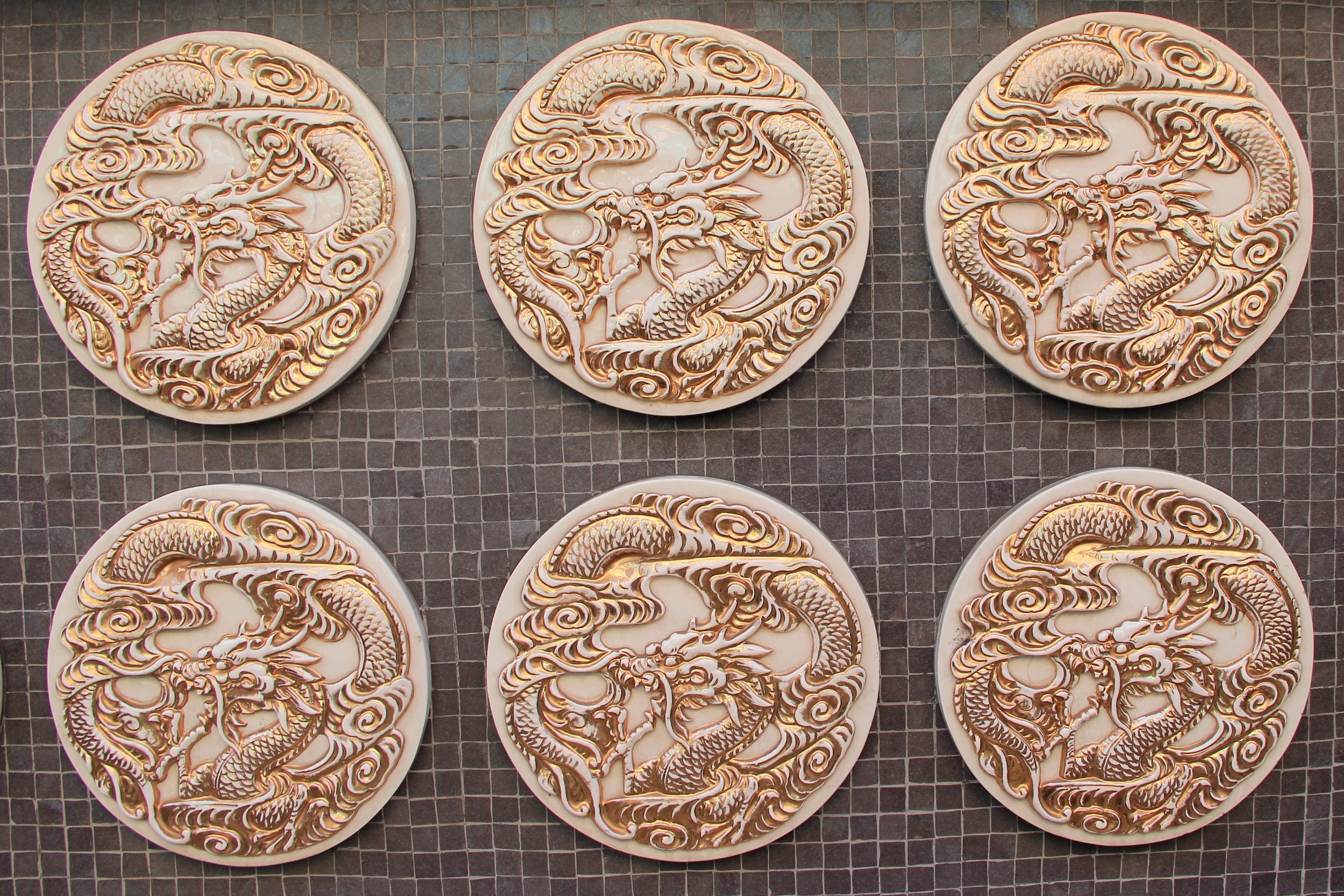 Medallions decorate the Bank of America near Sacramento Street in Chinatown