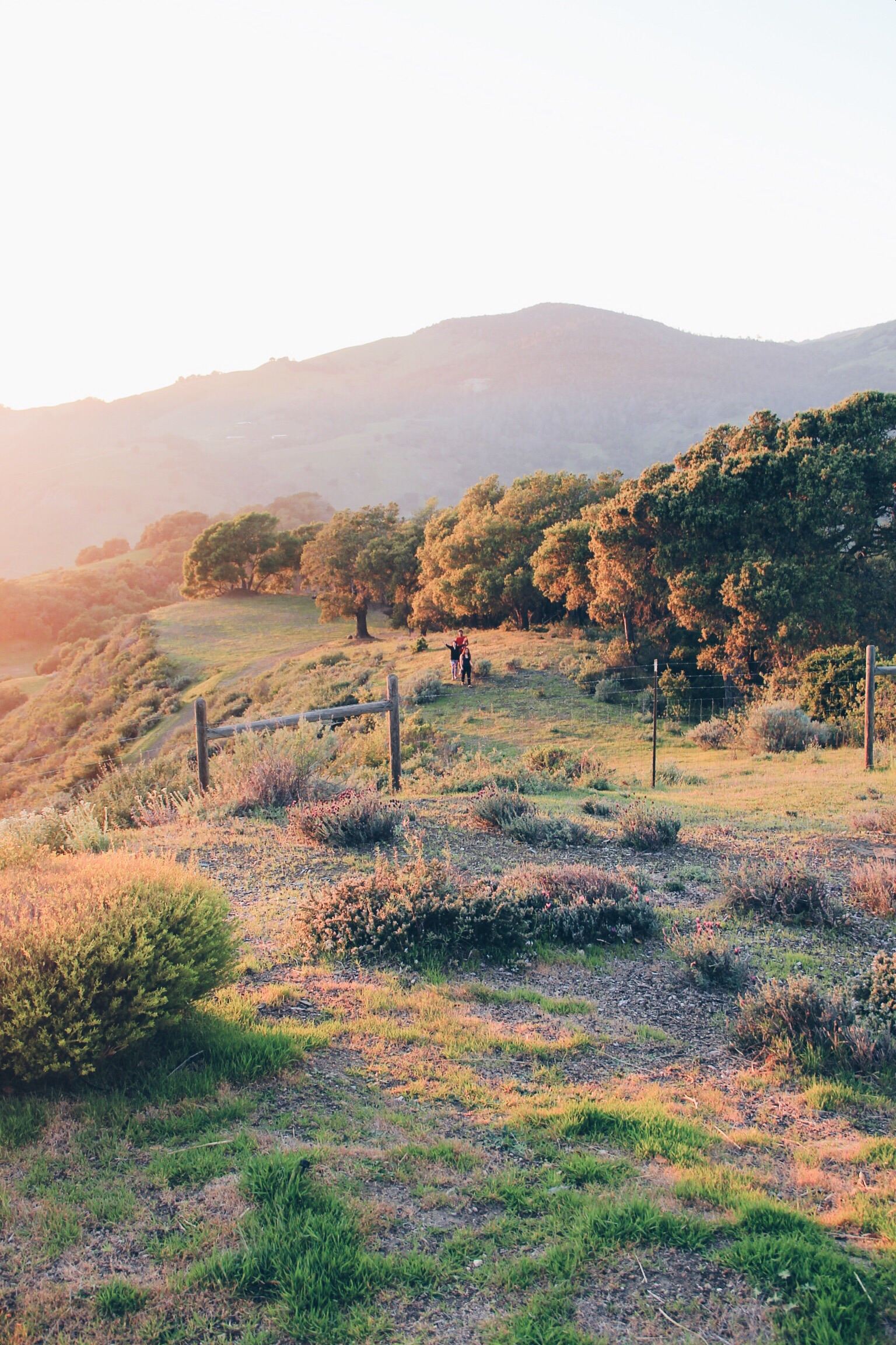 """Sunset in Cambria, CA from the porch of the """"Big House"""" at Stepladder Ranch"""