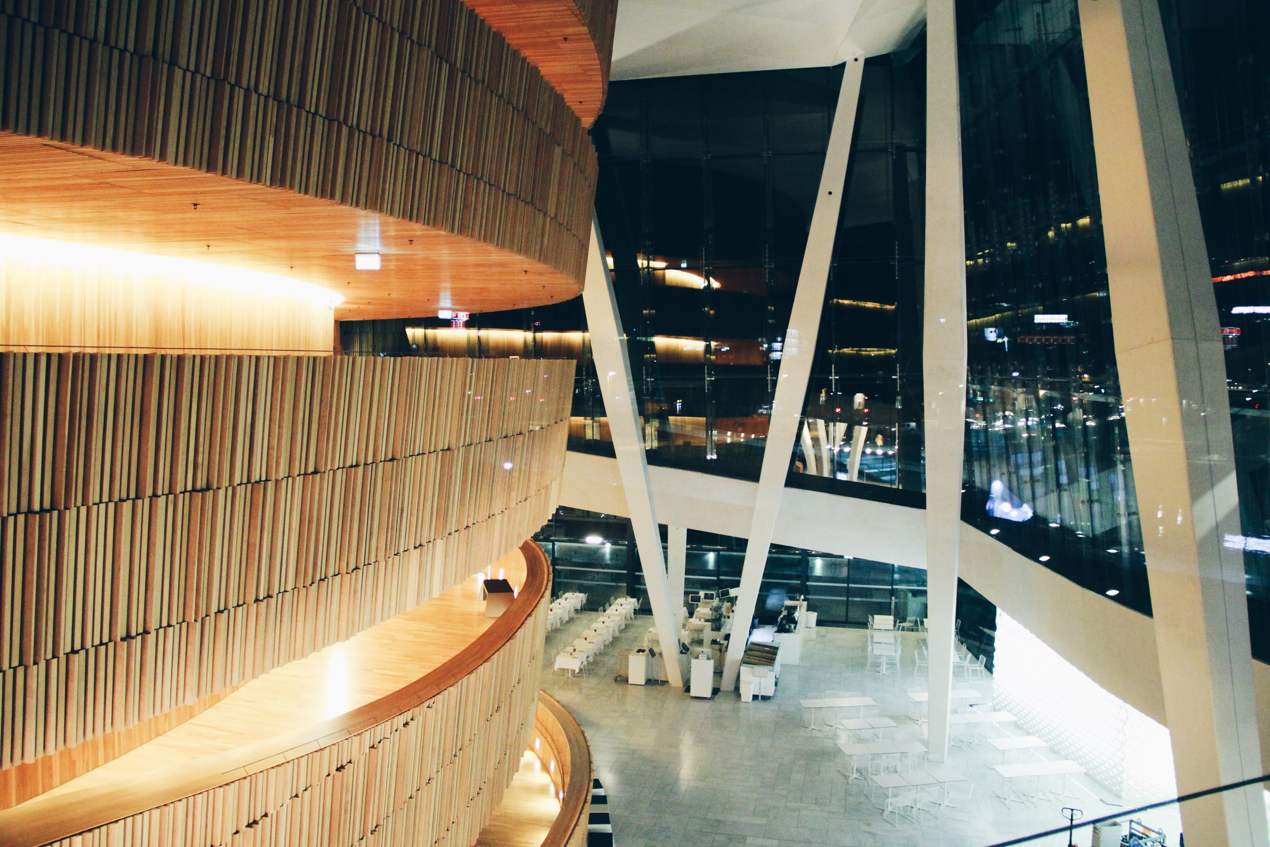 Inside of the Oslo Opera House at night.