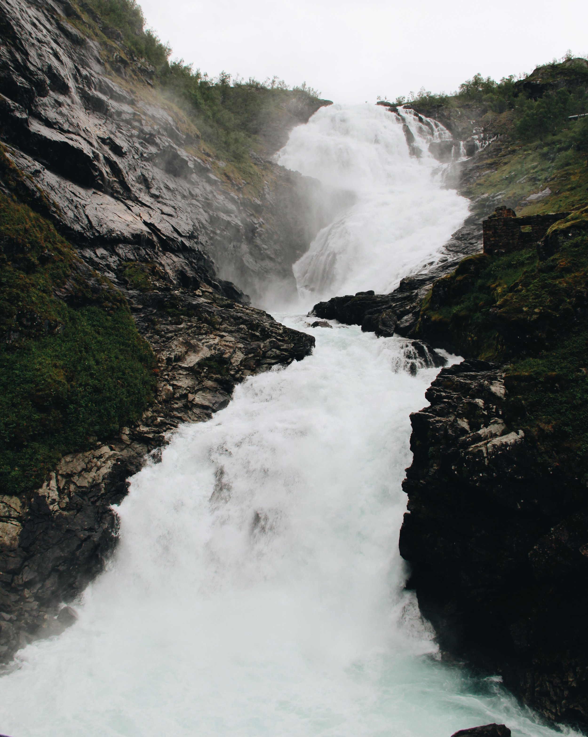 Waterfall stop on the train from Myrdal to Flam.