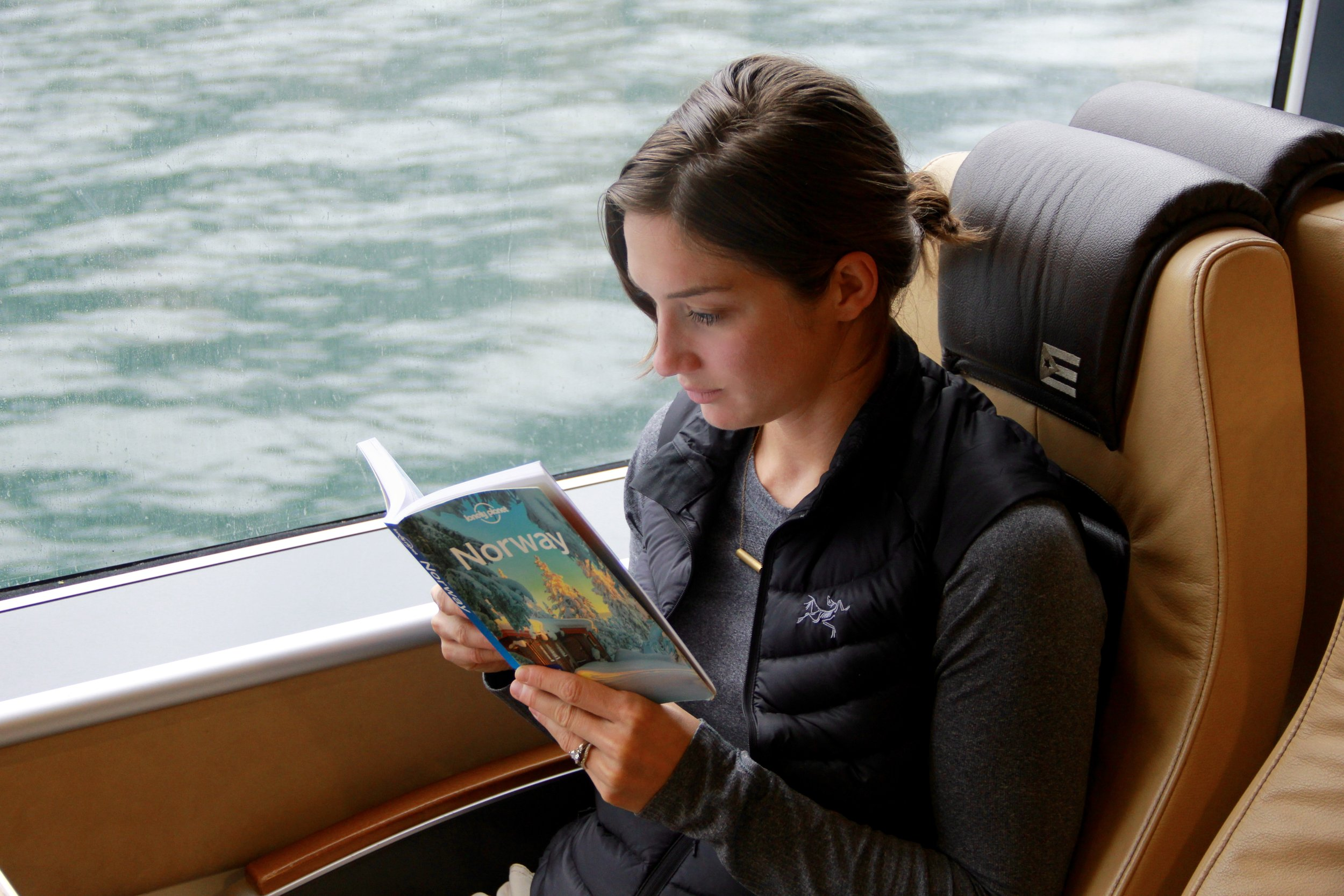 Okay, so I'm reading a book and not on my phone, but free wi-fi on the ferry meant that any place I found in the book could easily be researched on my phone afterwards.