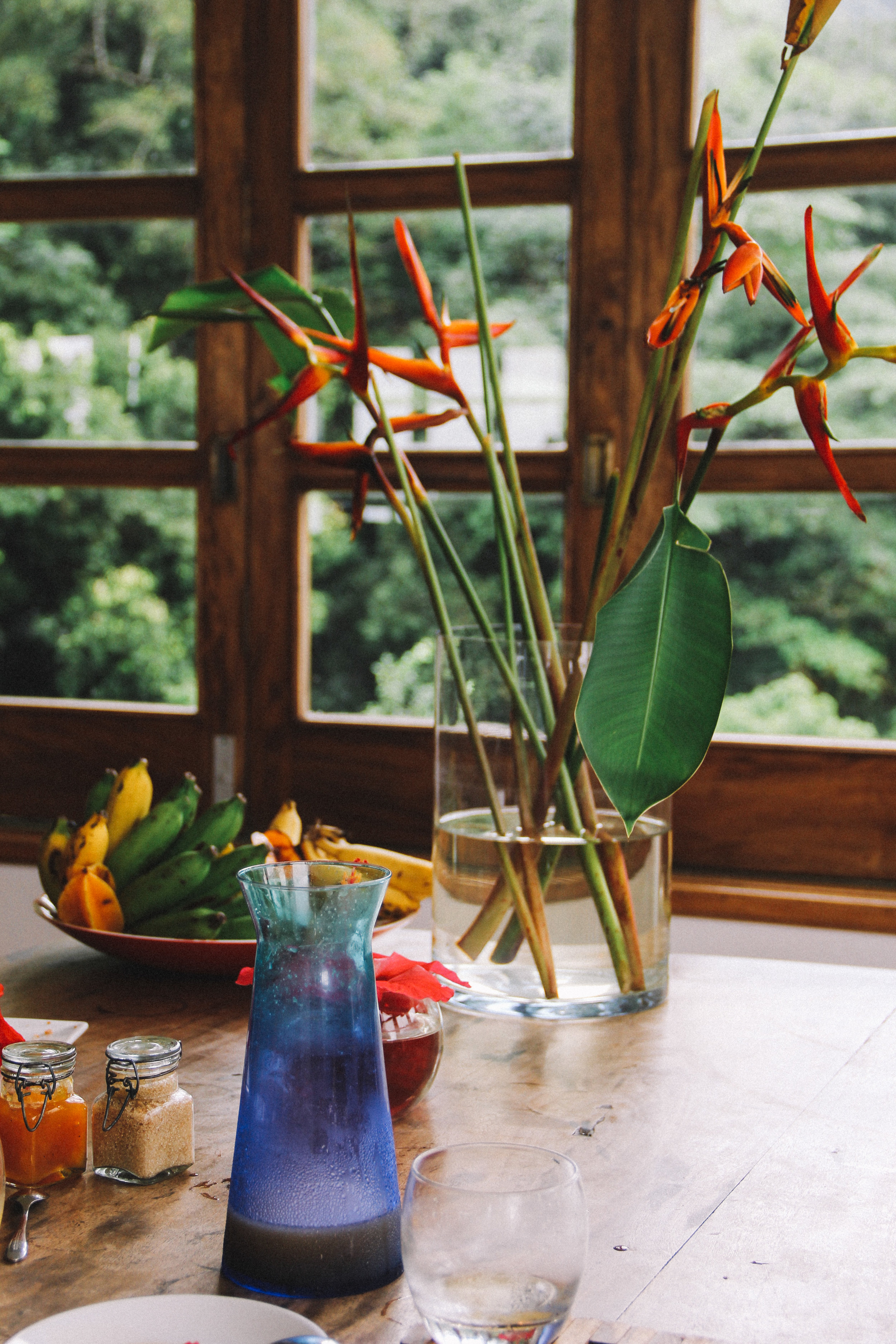 The breakfast table at Copolia Lodge, Mahe, Seychelles