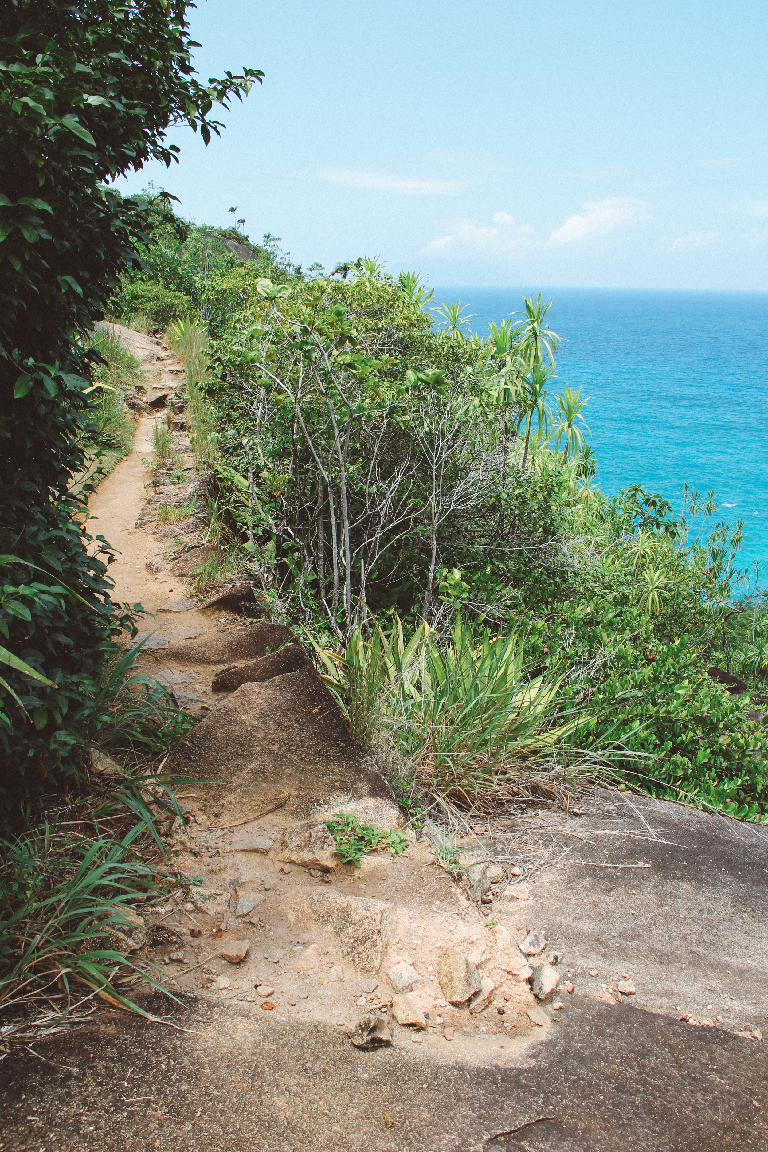 The beginning of Anse Major trail follows the coast