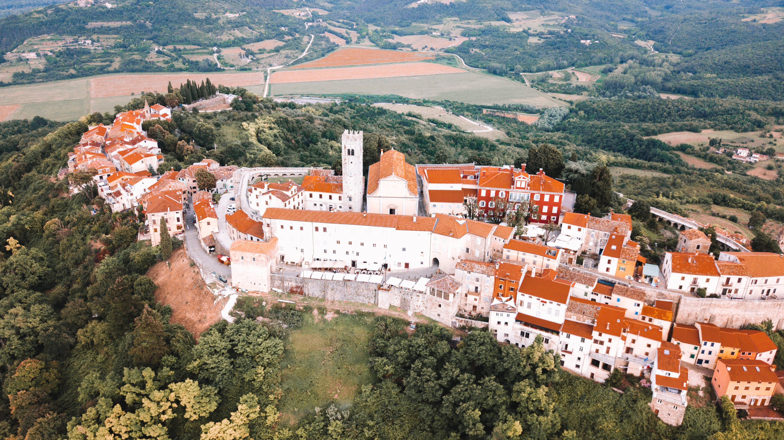 Aerial view of Motovun, birthplace of Mario Andretti