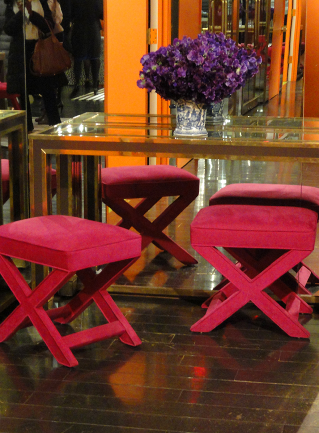 Fuchsia stools: Tory Burch Headquarters